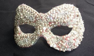 Unique Pink & Gold Pearl masquerade mask